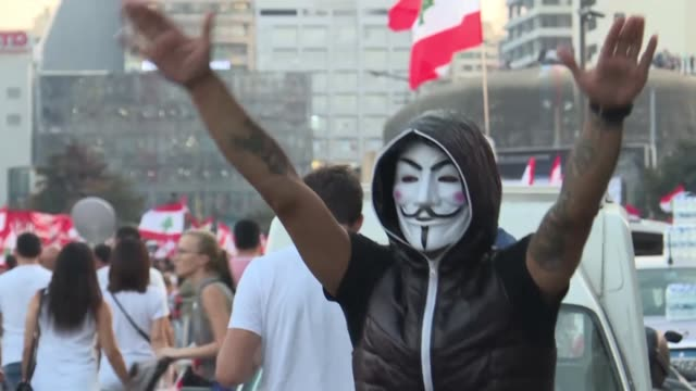 tens of thousands of lebanese protesters kept the country on lockdown as they gathered for a sixth consecutive day demanding new leaders despite the... - lebanon country stock videos & royalty-free footage