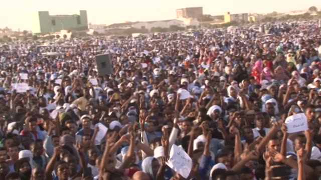 tens of thousands of mauritanians gather in the heart of the capital nouakchott to protest against the recent statements made by french president... - nouakchott stock videos & royalty-free footage