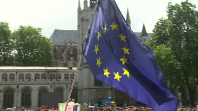 tens of thousands of people are expected to take part in a march from park lane to parliament in london to protest against the recent eu referendum... - referendum stock videos & royalty-free footage