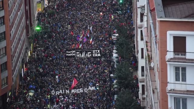 tens of thousands of people demonstrate in bilbao spain demanding that prisoners linked to the former armed separatist group eta be transferred to... - spanish basque country stock videos and b-roll footage
