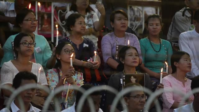 tens of thousands of people filled a football stadium in yangon for an interfaith rally on tuesday a show of unity in a country seared by ethnically... - rohingya culture stock videos and b-roll footage
