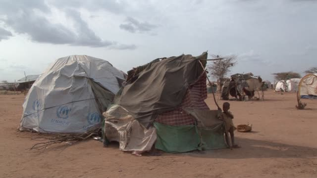 tens of thousands of people have fled somalia as the worst drought to hit the horn of africa since the 1960s brings starvation to the region dadaab... - horn of africa stock videos and b-roll footage