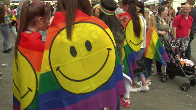 tens of thousands of people have taken part in belfast's annual pride festival demanding an end to a ban on samesex marriage politicians have... - belfast stock videos & royalty-free footage