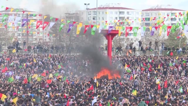 Tens of thousands of people hold a rally in Diyarbakir in south east Turkey to celebrate the Kurdish New Year and to call on voters to say no in the...