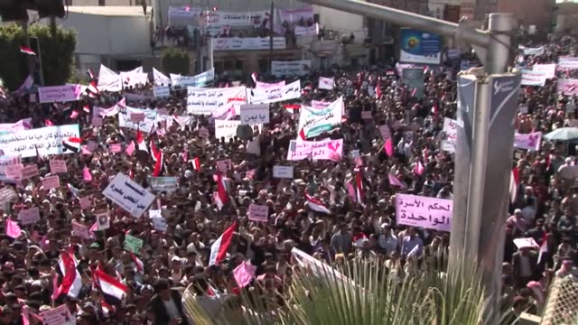 tens of thousands of protesters massed on thursday at sanaa university for a 'day of rage' calling for the fall of ali abdullah saleh's regime, while... - yemen stock videos & royalty-free footage