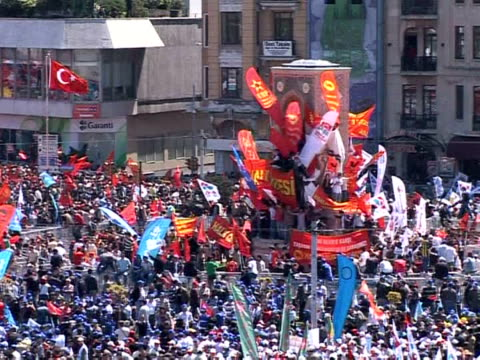 tens of thousands of workers filled a central square in turkey's biggest city istanbul saturday for the first may day celebrations at taksim square... - biggest stock videos & royalty-free footage