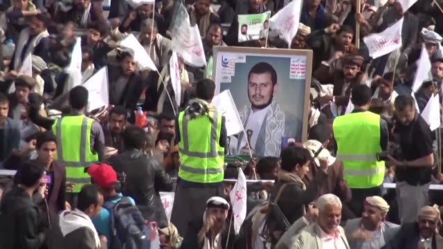 tens of thousands of yemeni shiite muslims walk the streets of sanaa to mark the 10th day of ashura's religious commemoration in memory of the death... - muharram stock videos & royalty-free footage