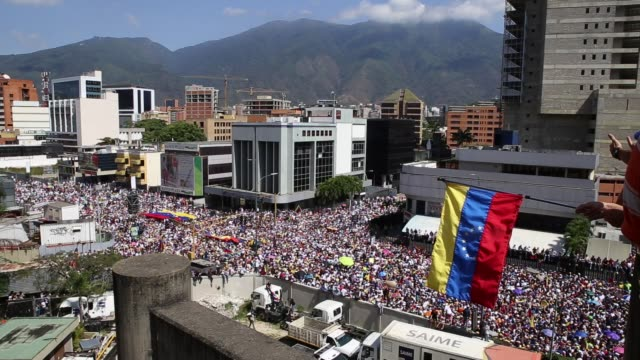 tens of thousands protest in venezuela to urge nicolás maduro to resign, in caracas, venezuela, on february 2, 2019. opposition supporters held a... - venezuela stock videos & royalty-free footage
