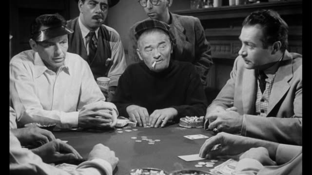 vídeos de stock, filmes e b-roll de 1955 tension at poker game (frank sinatra) - pôquer