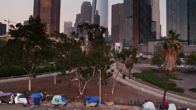 tent city on the edge of downtown los angeles - aerial view - tower stock videos & royalty-free footage