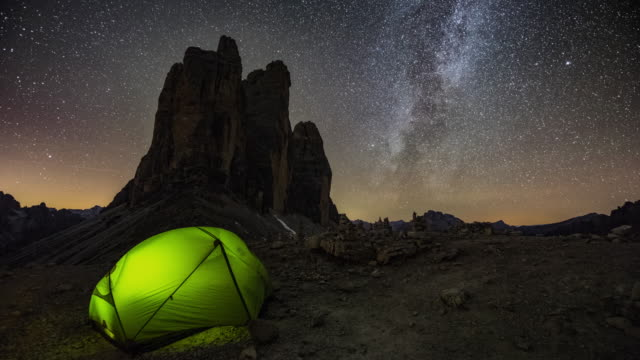 tent under the milky way in the mountains - tent stock videos and b-roll footage