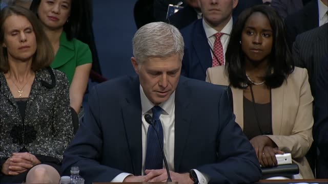 Tenth Circuit Judge Neil Gorsuch tells members of the Senate Judiciary Committee on the first day of his confirmation hearing to be an Associate...