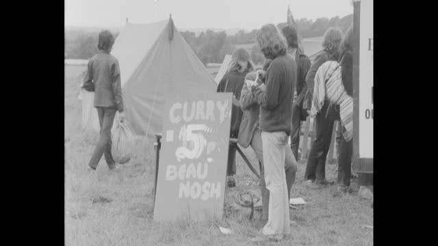 tents and general views of 1971 glastonbury festival at worthy farm, pilton, somerset - booth stock videos & royalty-free footage