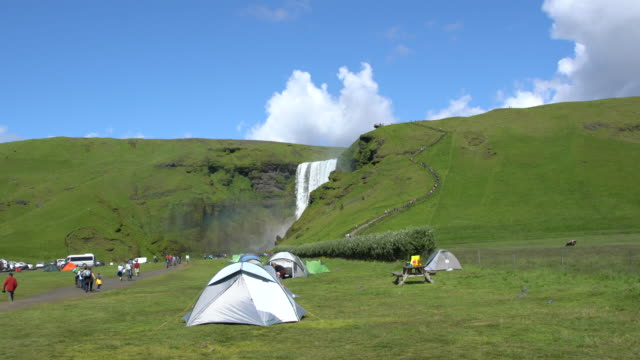 Tents in front of Skógafoss waterfall in Iceland
