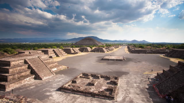 time lapse: teotihuacan ruins mexico - aztec civilization stock videos and b-roll footage