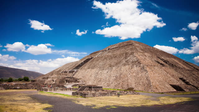 time lapse: teotihuacan sun pyramid - aztec civilization stock videos and b-roll footage