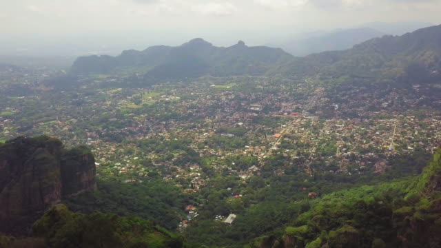 tepoztlán city from the pyramid - tepoztlan mountains stock videos and b-roll footage