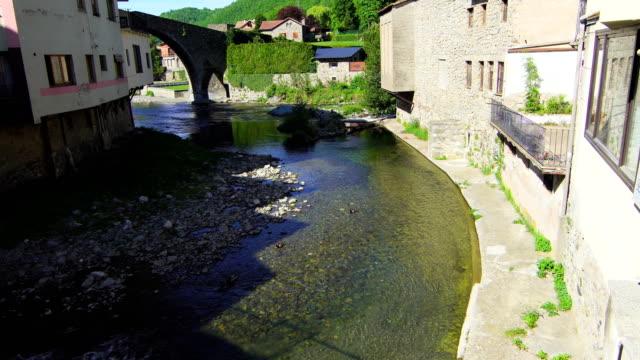 ter river in camprodon village, gerona - puente stock videos & royalty-free footage