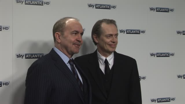 terence winter, steve buscemi at the sky atlantic hd launch: at london england. - steve buscemi stock videos & royalty-free footage