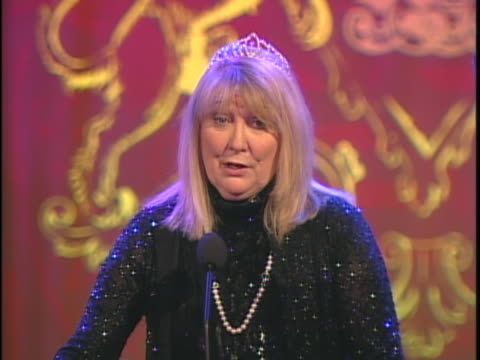 teri garr talks about and the race to erase event at the 12th annual race to erase themed rock and royalty to erase on april 22, 2005. - レーストゥイレースms点の映像素材/bロール