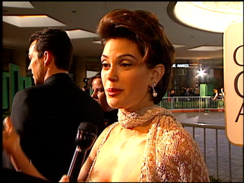 teri hatcher at the 1997 golden globe awards at the beverly hilton in beverly hills, california on january 19, 1997. - teri hatcher stock videos & royalty-free footage