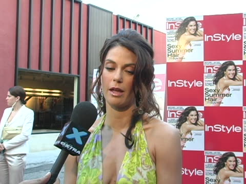 Teri Hatcher being interviewed by the press at the In Style Magazine Hosts A Dinner Party Honoring Teri Hatcher on the May Cover of In Style at...