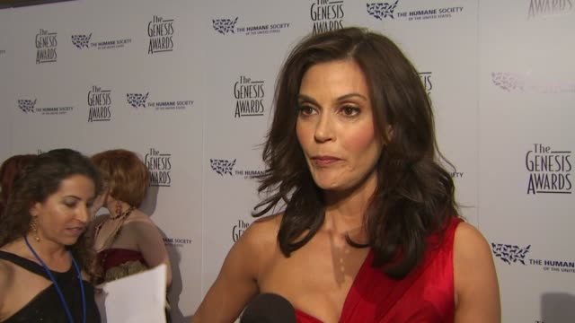 Teri Hatcher on the event dogs the honoree at the 24th Genesis Awards at Beverly Hills CA