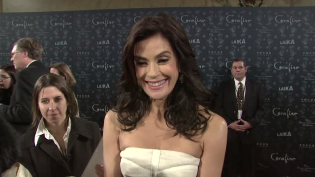 teri hatcher on the movie's 3d appeal, what makes coraline a fun family film, what aspect of her puppet most resembles her, if she could relate to... - teri hatcher stock videos & royalty-free footage