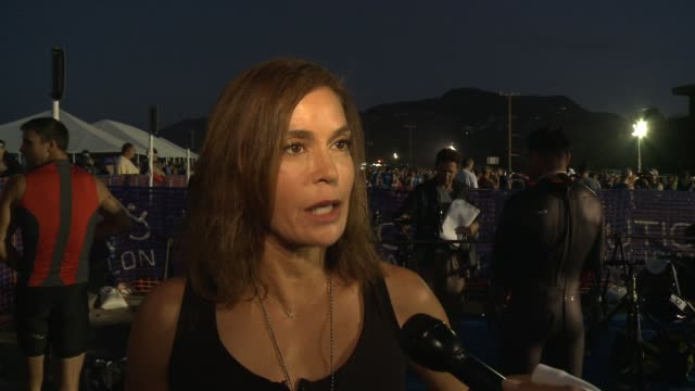 INTERVIEW Teri Hatcher post race interview on finishing the race at Nautica Malibu Triathlon Presented By Equinox in Los Angeles CA