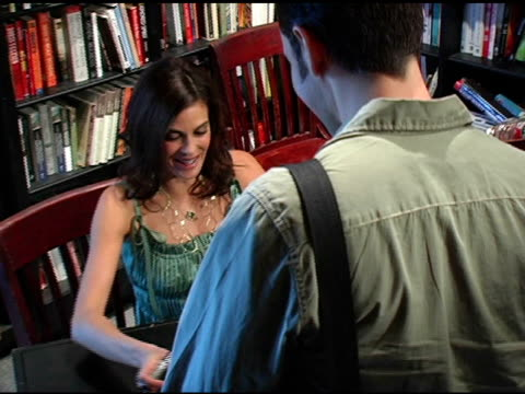 teri hatcher signing books at the book signing of 'burnt toast and other philosophies of life' by teri hatcher at book soup in beverly hills... - teri hatcher stock-videos und b-roll-filmmaterial