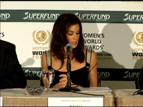 teri hatcher speaking at the women's world awards press conference in los angeles at the women's world awards press conference hosted by teri hatcher... - teri hatcher stock videos & royalty-free footage