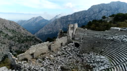 Termessos Ancient City and Theatre Drone Shots - Mounts Taurus and Clouds