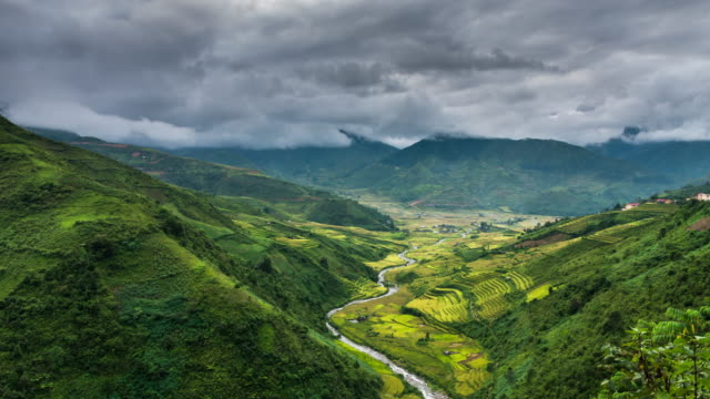 terraced rice field with cloud at tu le, yen bai province, vietnam, time lapse 4k clip - sa pa stock videos and b-roll footage