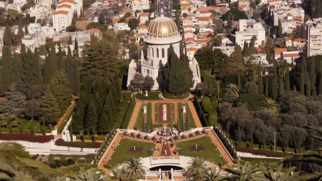 terraces of the shrine of the báb seen from above - medium wide shot - haifa video stock e b–roll
