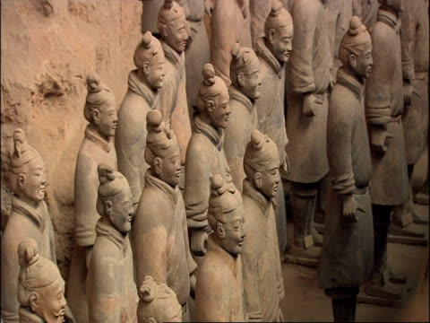 terracotta army, facing right, side view, museum of qin, xian, china - clay stock videos & royalty-free footage