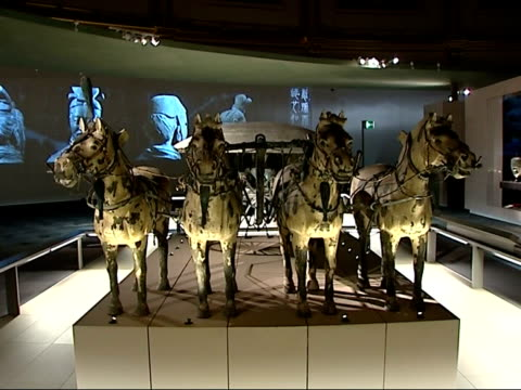 terracotta army figures exhibited at british museum in london headless clay figure and soldiers on display / exhibits in glass cabinet display /... - ausstellung stock-videos und b-roll-filmmaterial
