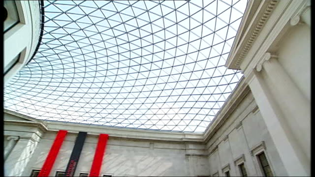 terracotta army figures exhibition in london; england: london: british museum: great court: int general views of covered courtyard where exhibition... - courtyard stock videos & royalty-free footage