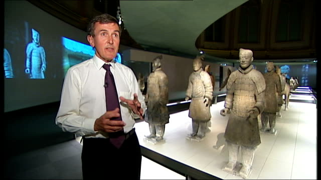 terracotta army figures exhibition in london; neil macgregor interview sot - neil macgregor stock videos & royalty-free footage