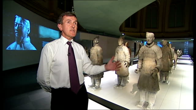 terracotta army figures exhibition in london; neil macgregor interview sot cutaway more of warriors - neil macgregor stock videos & royalty-free footage
