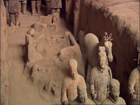 terracotta army, high angle, museum of qin, xian, china - terrakotta armee stock-videos und b-roll-filmmaterial