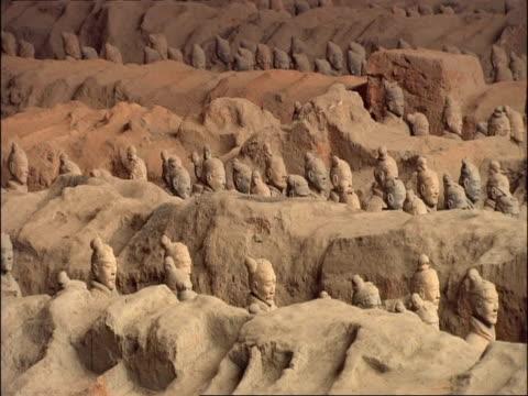 wa terracotta army, museum of qin, xian, china - terrakotta armee stock-videos und b-roll-filmmaterial