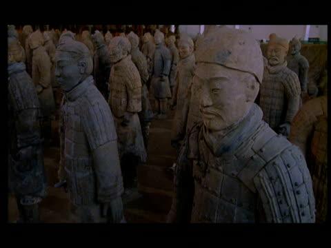 vídeos de stock e filmes b-roll de cu, ds, terracotta army, xi'an, shaanxi province, china - século 3 ac