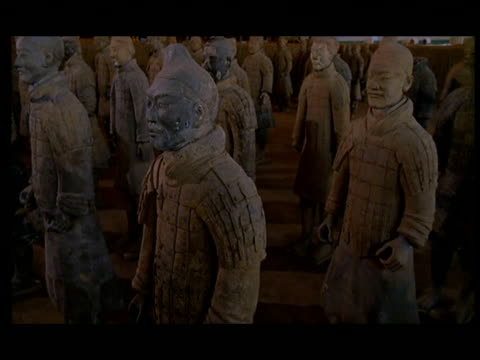 cu, ds, terracotta army, xi'an, shaanxi province, china - 紀元前3世紀点の映像素材/bロール