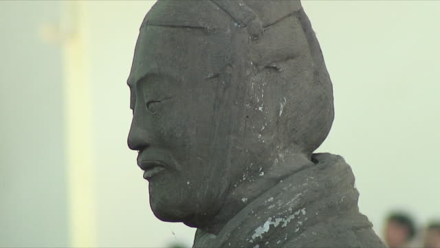 cu terracotta warrior statue, xi'an, shaanxi, china - male likeness stock videos & royalty-free footage