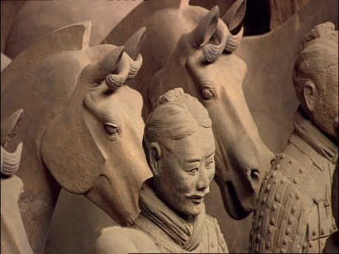terracotta warriors and horses, museum of qin, xian, china - clay stock videos & royalty-free footage