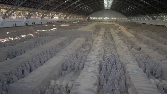 terracotta warriors in the tomb museum, unesco world heritage site, xi'an, shaanxi province, people's republic of china, asia - male likeness stock videos & royalty-free footage