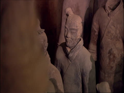 terracotta warriors, museum of qin, xian, china - clay stock videos & royalty-free footage