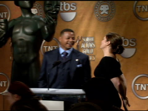 terrence howard and jeanne tripplehorn at the announcement of nominees for 2008 screen actors guild sag awards at pacific design center in west... - terrence howard stock videos and b-roll footage