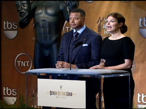 terrence howard and jeanne tripplehorn read the nominees for outstanding performance by a male actor in a drama series for television and outstanding... - terrence howard stock videos and b-roll footage
