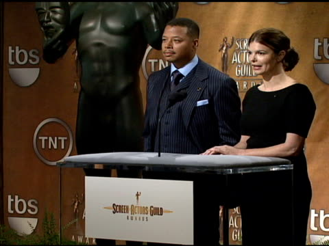 terrence howard and jeanne tripplehorn read the nominees for outstanding performance by a male actor in a television movie or mini-series and... - terrence howard stock videos & royalty-free footage